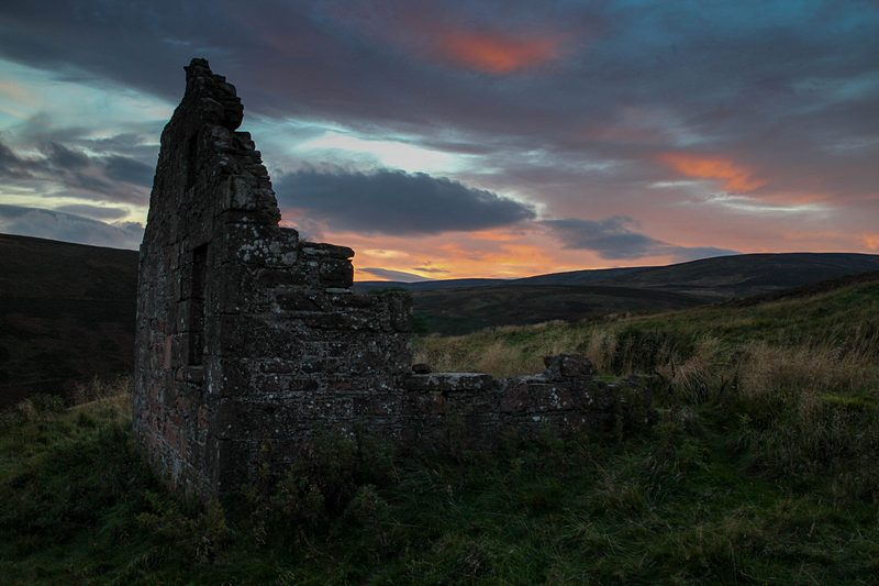 The ruin on Cairn o' Mount at Sunset