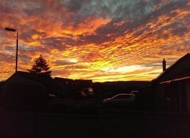 sunset over Laurencekirk