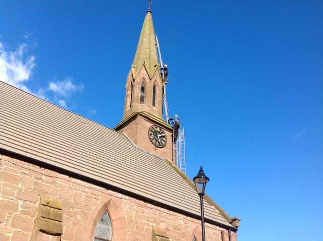 Laurencekirk Masonic hall steeplejacks