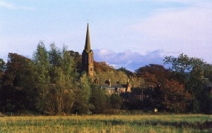 view of Fettercairn church spire
